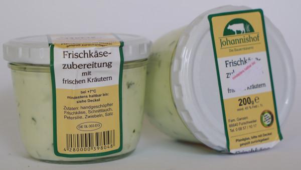Frischkäse Kräuter 200 g Glas Johannishof